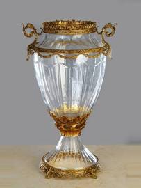 Luxe Life - Hand Cut Italian Crystal and Gilt Brass Ormolu 15.5 inch Vase