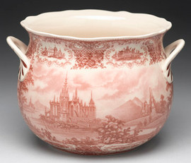 Red and White Pattern - Luxury Reproduction Transferware Porcelain - 9.5 Inch Planter