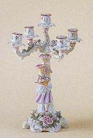 Meissen Style Table Top - 16 Inch Porcelain Candelabra Pair