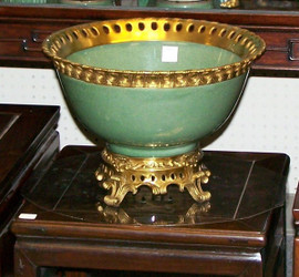 Lyvrich - Luxury Hand Painted Reproduction Porcelain and Gilt Bronze Ormolu - 12 Inch Statement Centerpiece, Bowl - Crackle Celadon