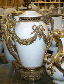 Lyvrich - Luxury Hand Painted Reproduction Porcelain and Gilt Bronze Ormolu - 18 Inch Statement Covered Urn - Crackle White