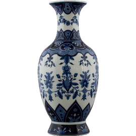 Classic Blue and White Pattern - Luxury Hand Painted Porcelain - 18 Inch Vase