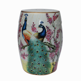 An Artisan Essence, Handmade, Handpainted Cherry Blossoms and Proud Peacock Garden Seat, Stool, Accent Table