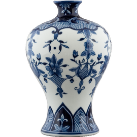Classic Blue and White Pattern - Luxury Hand Painted Porcelain - 12 Inch Vase