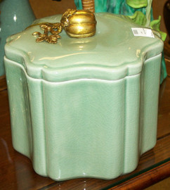 Lyvrich - Luxury Hand Painted Reproduction Porcelain and Gilt Bronze Ormolu - 8 Inch Decorative Container - Solid Celadon