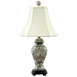 Climbing Rose Pattern - Luxury Hand Painted Porcelain - 26 Inch Lamp