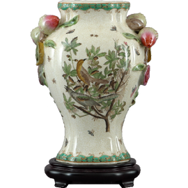 Feathered Friends Pattern - Luxury Hand Painted Porcelain - 13 Inch Vase