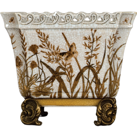 Autumn Meadow Pattern - Luxury Hand Painted Porcelain and Gilt Bronze Ormolu - 9 Inch Statement Planter