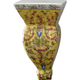 Elegant Rococo Pattern - Luxury Hand Painted Porcelain - 12 Inch Wall Shelf, Bracket, Sconce