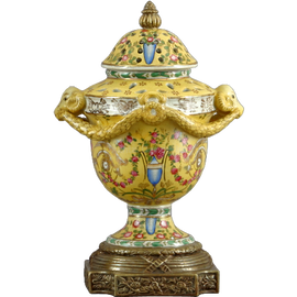 Elegant Rococo Pattern - Luxury Hand Painted Porcelain and Gilt Bronze Ormolu - 13 Inch Statement Covered Jar, Urn