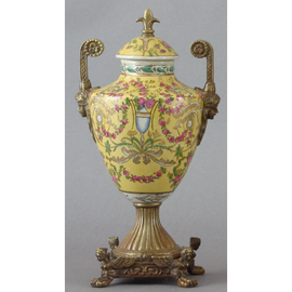 Elegant Rococo Pattern - Luxury Hand Painted Porcelain and Gilt Bronze Ormolu - 13 Inch Statement Covered Jar, Urn 1614 ND