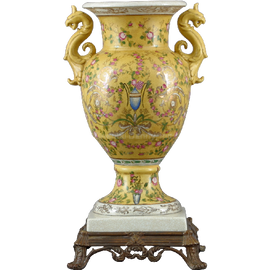 Elegant Rococo Pattern - Luxury Hand Painted Porcelain and Gilt Bronze Ormolu - 18 Inch Statement Vase
