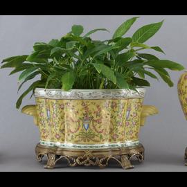 Elegant Rococo Pattern - Luxury Hand Painted Porcelain and Gilt Bronze Ormolu - 18 Inch Statement Centerpiece Planter