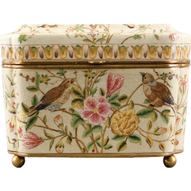 Pretty Bird Pattern - Luxury Hand Painted Porcelain and Gilt Bronze Ormolu - 11 Inch Rectangular Decorative Box