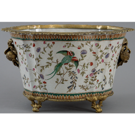 Avian and Floral Pattern - Luxury Hand Painted Porcelain and Gilt Bronze Ormolu - 16 Inch Planter