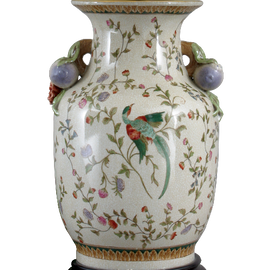 Avian and Floral Pattern - Luxury Hand Painted Porcelain - 12 Inch Vase
