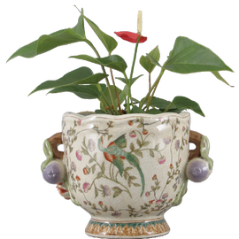 Avian and Floral Pattern - Luxury Hand Painted Porcelain - 9 Inch Planter