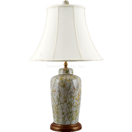 Dragonfly Garden Pattern - Luxury Hand Painted Porcelain - 30 Inch Table Top Lamp