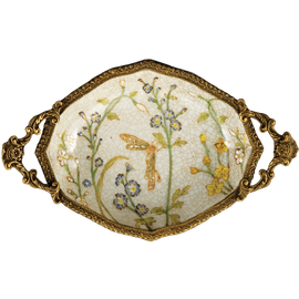Dragonfly Garden Pattern - Luxury Hand Painted Porcelain and Gilt Bronze Ormolu - 7 Inch Statement Coaster Pair, Small Dish Set