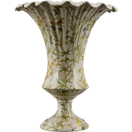 Dragonfly Garden Pattern - Luxury Hand Painted Porcelain - 13 Inch Fluted Vase