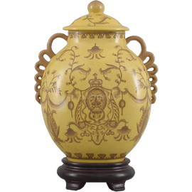 Lion Crest Pattern - Luxury Hand Painted Porcelain - 11 Inch Covered Jar