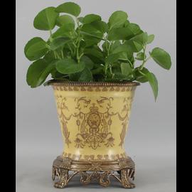 Lion Crest Pattern - Luxury Hand Painted Porcelain and Gilt Bronze Ormolu - 10 Inch Statement Centerpiece Planter