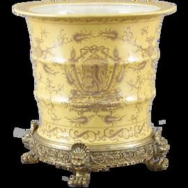 Lion Crest Pattern - Luxury Hand Painted Porcelain and Gilt Bronze Ormolu - 15 Inch Statement Centerpiece Planter