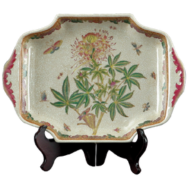 Spider Flower Pattern - Luxury Hand Painted Porcelain - 14 Inch Tray