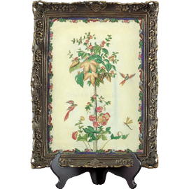 Spring Vine Pattern - Luxury Hand Painted Porcelain - 17 Inch Framed Tray, Platter