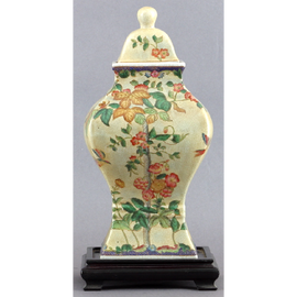 Spring Vine Pattern - Luxury Hand Painted Porcelain - 16 Inch Temple Jar with Wooden Stand