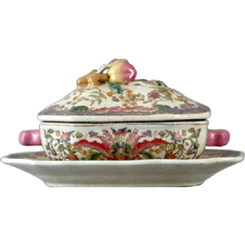 Lotus Flower Pattern - Luxury Hand Painted Porcelain and Gilt Bronze Ormolu - 10 Inch Tureen and Saucer