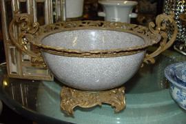 Antique White Decorator Crackle - Luxury Handmade and Painted Reproduction Chinese Porcelain and Gilt Bronze Ormolu - 11 Inch Statement Bowl - Style Q78
