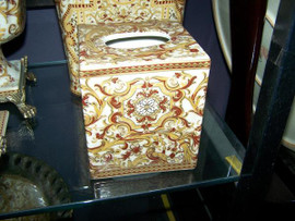 Burgundy Medallion and Gold - Luxury Handmade and Painted Reproduction Chinese Porcelain - 6 Inch Boudoir, Boutique Tissue Box - Style M422