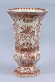 Red and White Pattern - Luxury Reproduction Transferware Porcelain - 16.5 Inch Vase