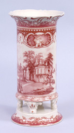 Red and White Pattern - Luxury Reproduction Transferware Porcelain - 10 Inch Vase
