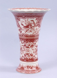 Red and White Pattern - Luxury Reproduction Transferware Porcelain - 10.5 Inch Vase