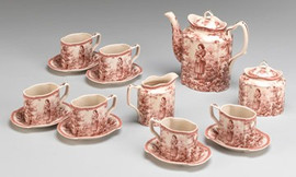 Red and White Pattern - Luxury Reproduction Transferware Porcelain - 15 Piece Tea Set 1312 AAA