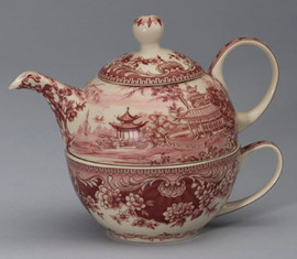Red and White Pattern - Luxury Reproduction Transferware Porcelain - Tea for One Set 1309 AAA