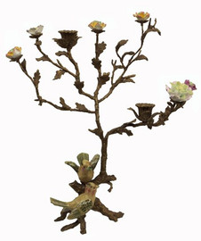 Birds of Spring - Luxury Hand Painted Porcelain and Gilt Bronze Ormolu Tree - 15 Inch Taper Candle Holder