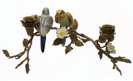 Birds of Spring - Luxury Hand Painted Porcelain and Gilt Bronze Ormolu Branch - 15 Inch Parakeet Taper Candle Holder