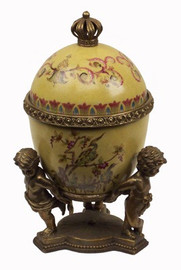 The Golden Egg - Luxury Hand Painted Porcelain and Gilt Bronze Ormolu - 9 Inch Decorative Egg