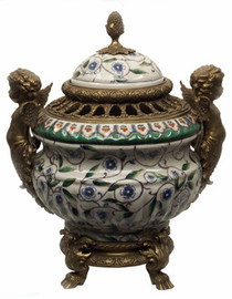Flower Vine - Luxury Hand Painted Porcelain and Gilt Bronze Ormolu Putti - 14 Inch Covered Statement Jar