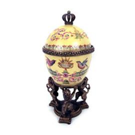 Jolis Oiseaux - Luxury Hand Painted Porcelain and Gilt Bronze Ormolu - 10 Inch Decorative Egg