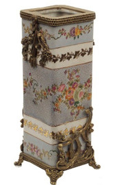 Simplicity - Luxury Hand Painted Porcelain and Gilt Bronze Ormolu - 10.25 Inch Bud Vase