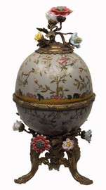 Simplicity - Luxury Hand Painted Porcelain and Gilt Bronze Ormolu - 14.5 Inch Decorative Egg