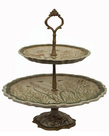 Summer Garden - Luxury Hand Painted Porcelain and Gilt Bronze Ormolu - 19 Inch Two Tier Pastry Display Stand