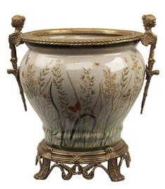 Summer Garden - Luxury Hand Painted Porcelain and Gilt Bronze Ormolu - 12 Inch Planter