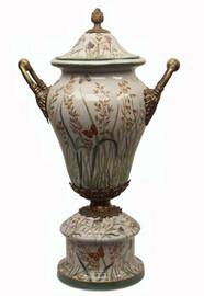 Summer Garden - Luxury Hand Painted Porcelain and Gilt Bronze Ormolu - 19 Inch Covered Urn