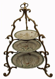 Summer Garden - Luxury Hand Painted Porcelain and Gilt Bronze Ormolu - 19.5 Inch Three Tier Pastry Display Stand