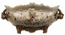Summer Garden - Luxury Hand Painted Porcelain and Gilt Bronze Ormolu - 14 Inch Centerpiece Planter